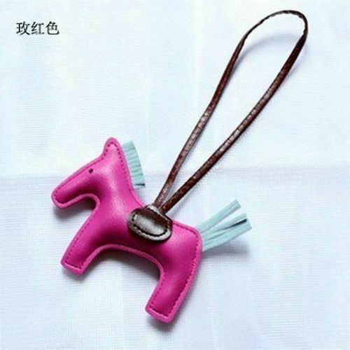 Handbag PU Leather Horse Pendant Handmade Pony Purse New Keychain Bag Charm Ring