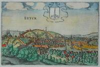 Luyck - Liege - Lüttich - Stadtansicht von Lodovico Guicciardini - Original 1613