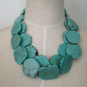 Two-layers-turquoise-necklace-irregular-stone-necklace-bib-statement-necklace-LS