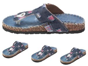 New-Women-039-s-Funky-Thong-Sandal-Black-Blue-Denim-upper-Slip-on-Flat-Thong-Sandals