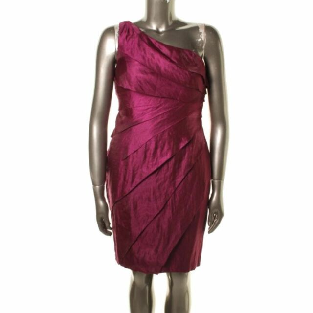 0b1467a10d8 LONDON TIMES NEW Purple Tiered One Shoulder Party Cocktail Dress 10  Knee-Length