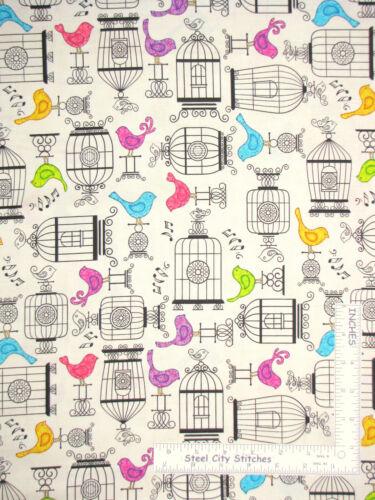 Bird Cage Birds Animal Toss Ecru Cotton Fabric QT Tail Two Kitties By The Yard