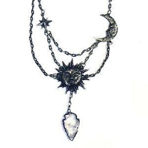 Restyle Gothic Occult 80s Sun Crescent Moon Star Quartz Crystal Necklace Choker