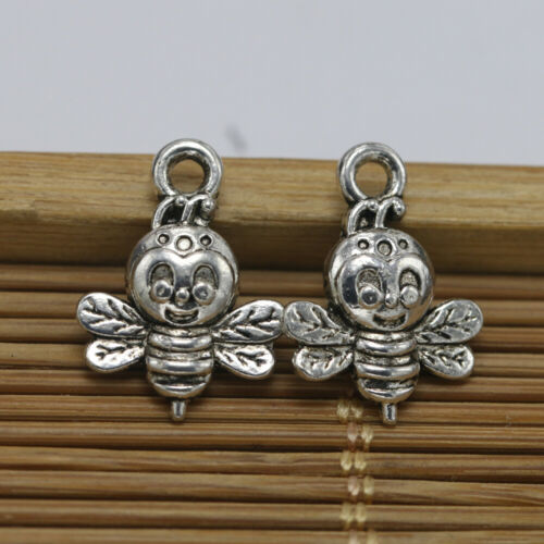 10//30//100pc Vintage Silver Bee Pendant Decoration DIY Jewelry Accessories 16*9mm