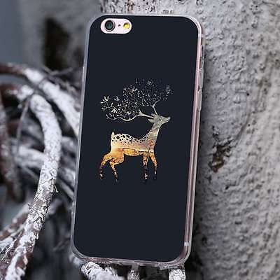 Deer Soft TPU Silicone Case Christmas Pattern Cover For iPhone Samsung Huawei LG