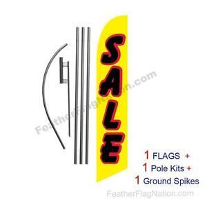 SALE (yellow & black/red) 15' Feather Banner Swooper Flag Kit with pole+spike