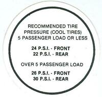 1968 Gto/lemans Tire Pressure Decal
