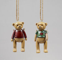 2 x Vintage style Antique teddy bears Christmas tree hangers Baubles Decorations