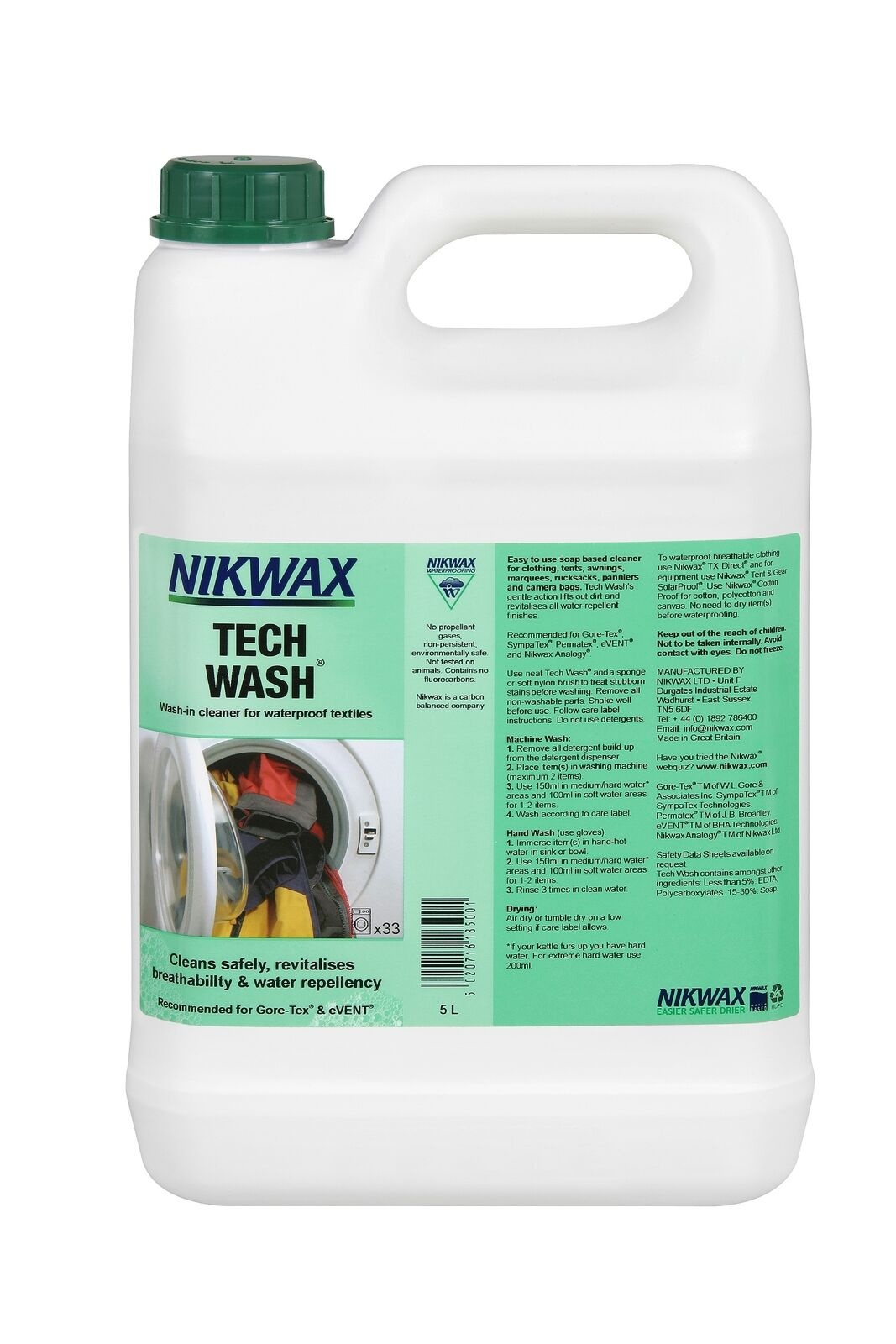 Nikwax Tech Wash 5 Litre  Wash-in Cleaner Waterproof Outdoor Clothing & Equipment  brand outlet