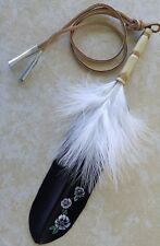 "Native American Eagle Feather Hair Tie ""Cherokee Rose"" Regalia Artist BlackHawk"