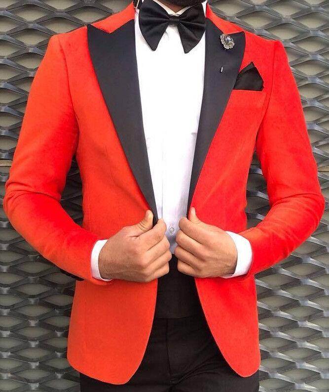 Designer Rot Samt Anzug Smoking Hochzeitanzug Herrenanzug Tailliert Slim Fit 44
