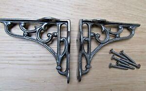Par-de-Vintage-Clasico-Antiguo-Victoriano-Scroll-Estante-Soportes-Hierro-Fundido