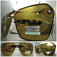 Classic Vintage Retro Shield Style Sun Glasses Gold Frame Flat Brown Mirror Lens
