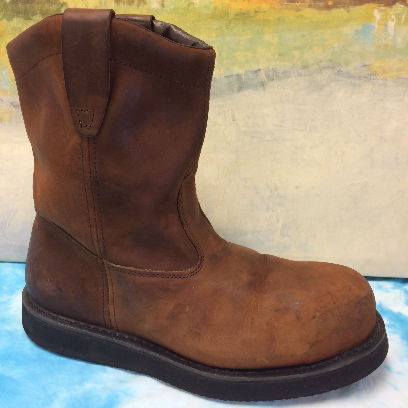 BRAHAMA MENS BOOTS SIZE 12W BROWN STEEL TOE LEATHER AND leather upper USED