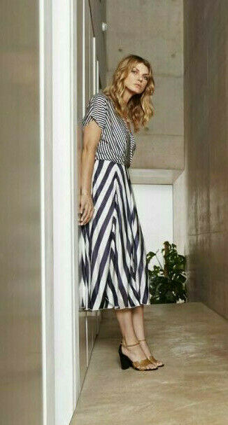 783dde3552c862 Karen Millen Nautical Stripe Drape Midi Flare Jersey Occasion Dress 8 36  Slinky nvpaup2110-Kleider