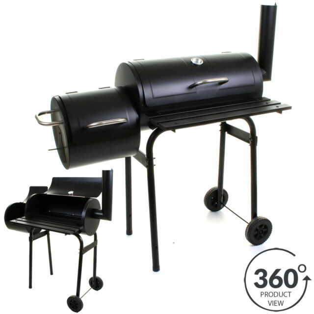 LARGE BBQ BARBECUE SMOKER CHARCOAL GRILL OUTDOOR FOOD COOKING GARDEN OUTDOOR