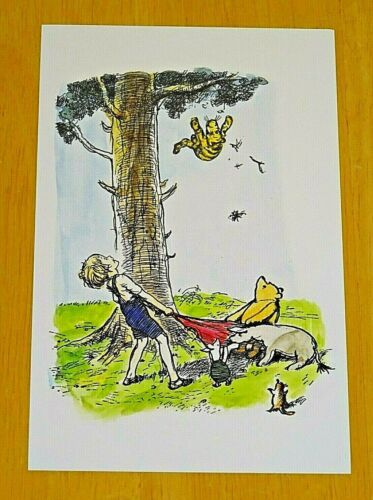 WINNIE-THE-POOH POSTCARD ~ POOH BEAR /& THE GANG CATCH TIGGER FALLING FROM A TREE