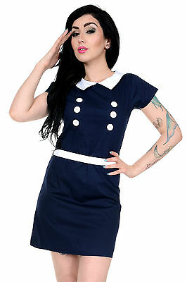 Ladies 60s Retro Vintage Mod Navy Stretch Mini Shift Scooter Button Dress