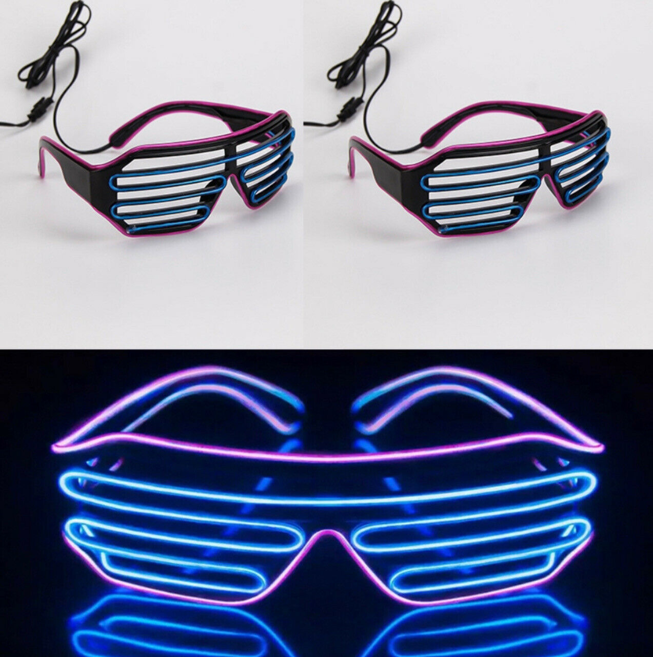 10 Pairs of Neon Glasses   Light Up Shades Flashing Rave Festival Party Muse