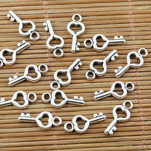 170pcs tibetan silver tone mini heart key charms EF1707