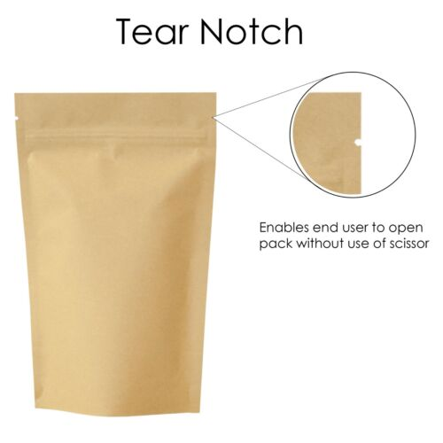Papier kraft sac//pochette stand up scellables café graines noix grip heat seal bag