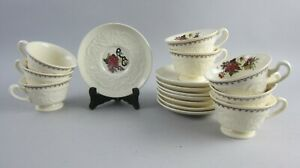 Lot-of-8-Wedgwood-China-BULLFINCH-Patrician-Cups-amp-Saucers-EX