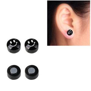 black acrylic smile no piercing magnetic stud earrings