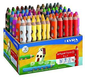 72x Lyra GROOVE Triple1 Farbstifte Buntstifte 18 Farben Holzaufsteller Krippe