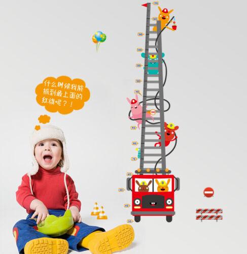 Cartoon Car Fire Truck Wall Stickers For Height Measur Growth Chart Decals Decor