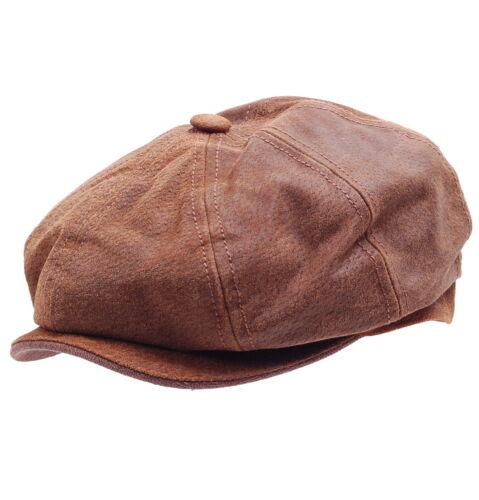 Stetson Burney Pig Skin Lederkappe Ballonmütze Schiebermütze Baker Boy Mütze