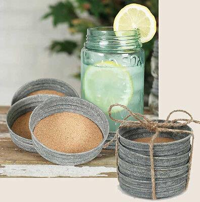 Christmas Farmhouse Mason Jar Lid Coaster Set Country Christmas Decor
