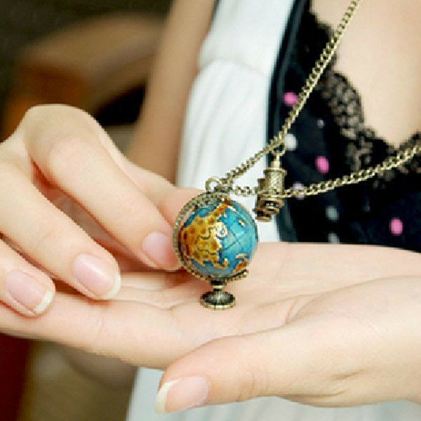 Stylish Vintage Telescope Globe Pendant Track Globe Necklace Sweater Chain New