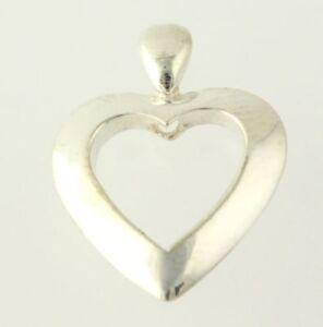 Open-Heart-Pendant-925-Sterling-Silver-Women-039-s-Estate-Love-Polished