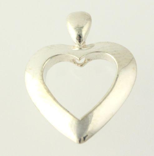 Open Heart Pendant - 925 Sterling Silver Women's Estate Love Polished