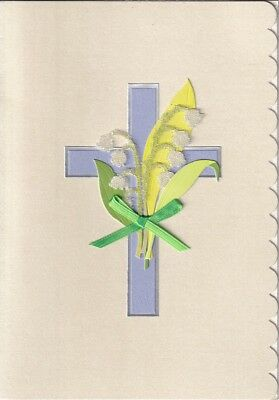 PAPYRUS EASTER CARD NIP MRP $5.95 BLUE//GREEN CROSS CARD