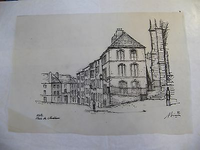 Obedient Tinte China Auf Layer Platz Streckenposten Metz André Simon 1926-2014 Kunst Zeichnungen