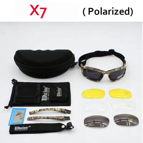 Daisy C5 X7 Polarized Military Army Goggles Men Tactical Game 4 Lens Kit Glasses
