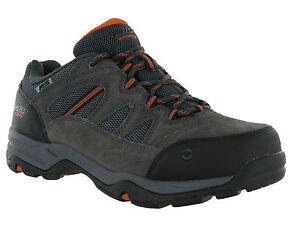 Hi-Tec-Bandera-amplia-carbon-Cordon-de-Cuero-Impermeable-Caminar-Senderismo-Para-hombre-entrenador