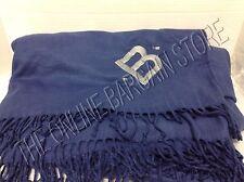 Pottery Barn Monogrammable Oversized Fringe Throw Blanket Twilight Blue 75x92 B