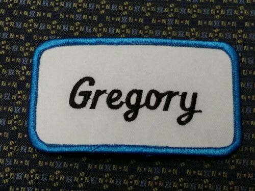 GREGORY NAME TAG BLUE AND WHITE Iron or Sew-On Patch