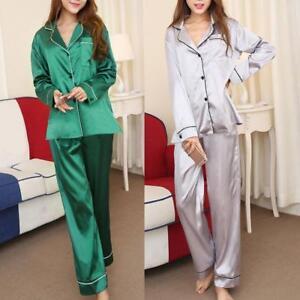 ab8b50e61f32 Lady Women Satin Silk Pajama Sets Long Sleeve Homewear Sleepwear ...
