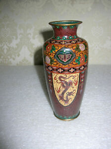 JAPANESE-SILVER-WIRE-CLOISONNE-VASE-DRAGONS-MARKED