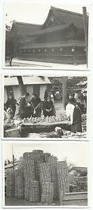 Photographs-JAPAN-3-Photographs-of-a-Market-Scenes-Location-Unknown