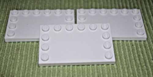 3 ~ 4x6 White Tile w// Outside Pegs Bricks ~ Lego  ~ NEW ~