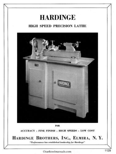 HARDINGE TR59 DV59 Split Bed High Speed Precision Metal Lathe Parts Manual 1129