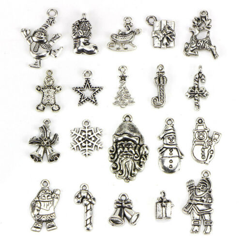 20X Lots Tibetan Silver Christmas Mixed Pendants Charms DIY Jewelry Findings CA