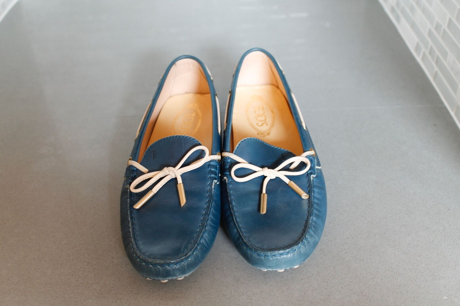 Tod's Blue Blue Blue Leather Driving Loafers Size 38.5 4c825c