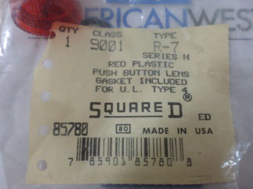 New Surplus  Square D Class 9001 Type R-7 Red Plastic Push Button Lens