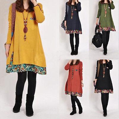 NEW Vintage Bohemian Floral Print Long Top Blouse T Shirt Loose Mini Short Dress