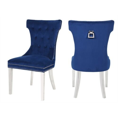 Galaxy Home Rita Velvet fabric chair with Stainless Steel legs - Blue (Set of 2)